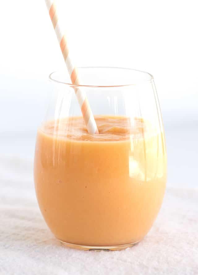 Tropical Fruit Smoothie - beautiful orange smoothie full of pineapple, papaya and peach!