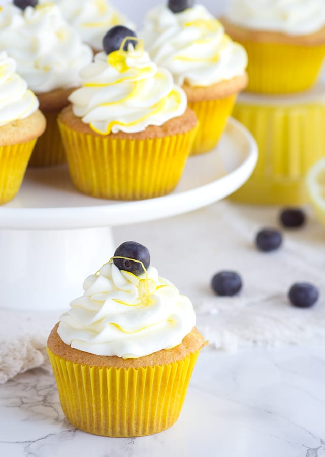 Boozy Blueberry Lemon Cupcakes - homemade blueberry filling, lemon cupcakes with a punch of limoncello, and limoncello frosting all in the perfect little package.