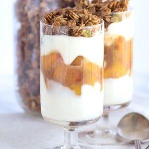 Peach Parfaits - peaches with a cinnamon brown sugar syrup, maple cinnamon granola and a peach & vanilla yogurt.