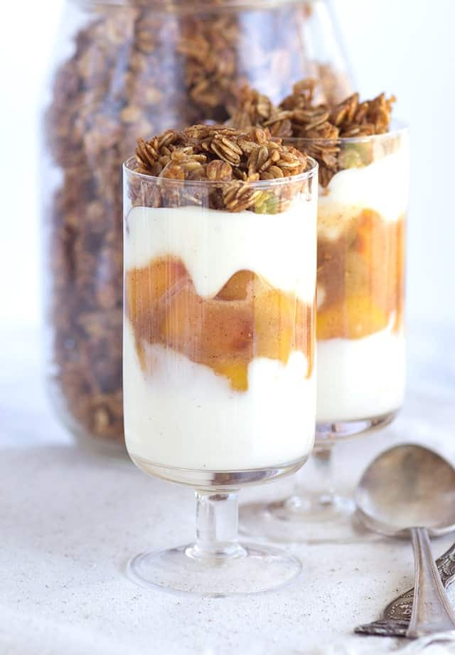 Peach Parfaits - peaches with a cinnamon brown sugar syrup, maple cinnamon granola and a peach & vanilla yogurt.