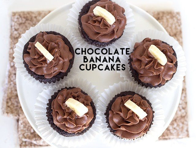 Chocolate Banana Cupcakes with a chocolate frosting and topped with a fresh banana slice!