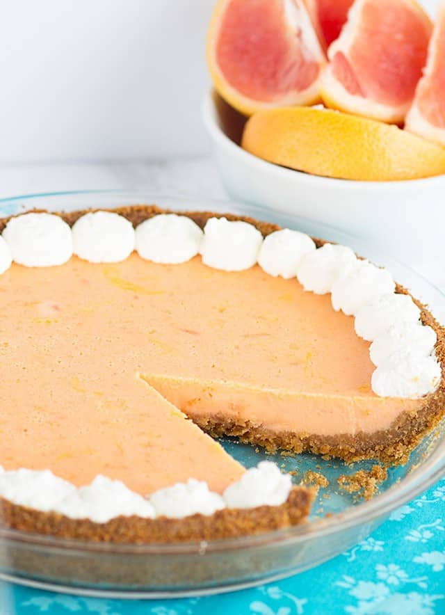 Grapefruit Pie with a slice missing