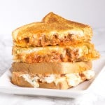 Lasagna Grilled Cheese - all the delicious cheesy ingredients can be found inside this grilled cheese. It's slightly messy but the best grilled cheese I've ever had!