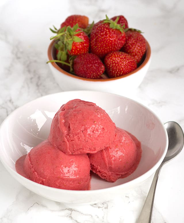 Strawberry Banana Ice Cream - healthy AND dairy-free ice cream full of bananas and strawberries and lightly sweetened with honey!