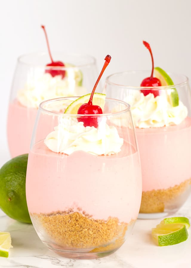 No Bake Cherry Limeade Cheesecake - Cherry and lime come together to make the perfect mousse cheesecake!