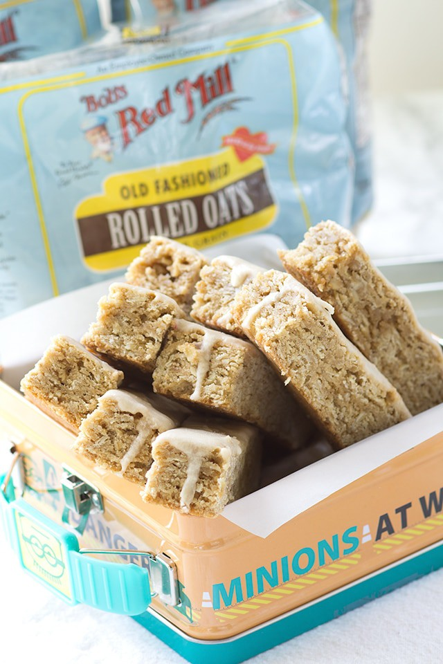 Maple Glazed Oatmeal Cookie Sticks - they're chewy, sweet and full of oats! They're the perfect treat for any lunch box.
