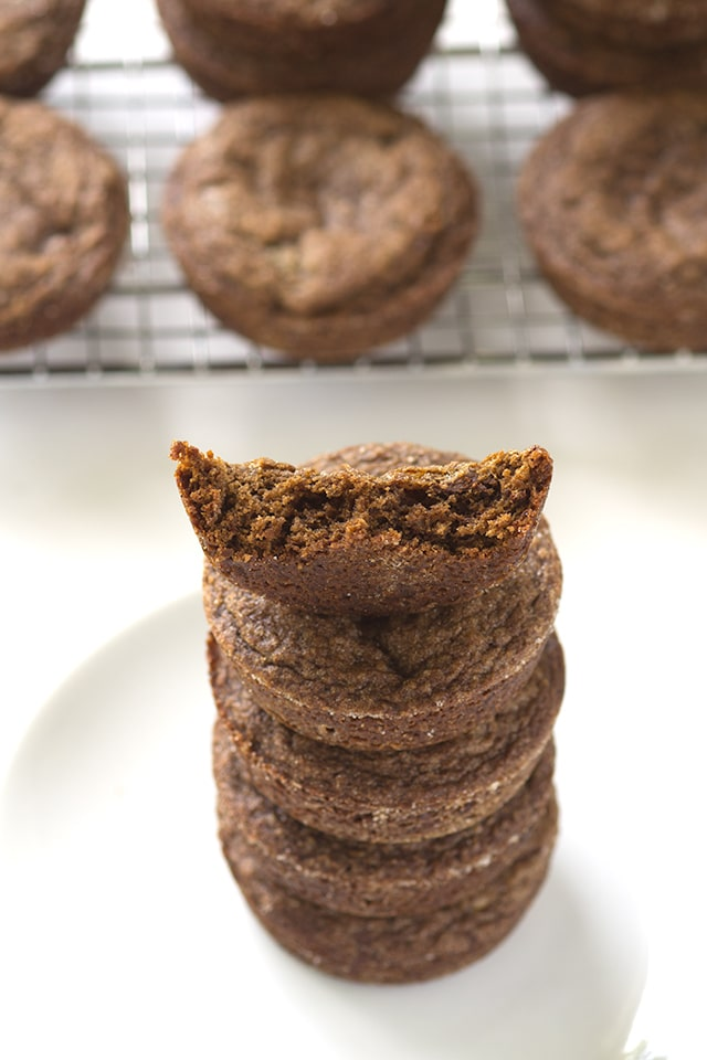 Double Ginger Molasses Cookies - For all of the ginger lovers! These cookies are packed full of ginger and molasses with a small addition of cocoa powder and instant coffee.