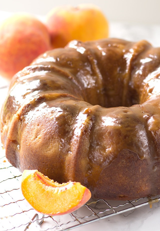 Fresh Peach Pound Cake with a Brown Sugar Bourbon Glaze