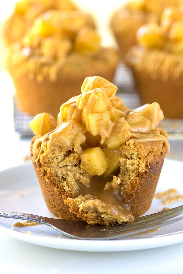Apple Pie Peanut Butter Cookie Cups - peanut butter cookies baked inside cupcake tins and then stuffed with apple pie filling!