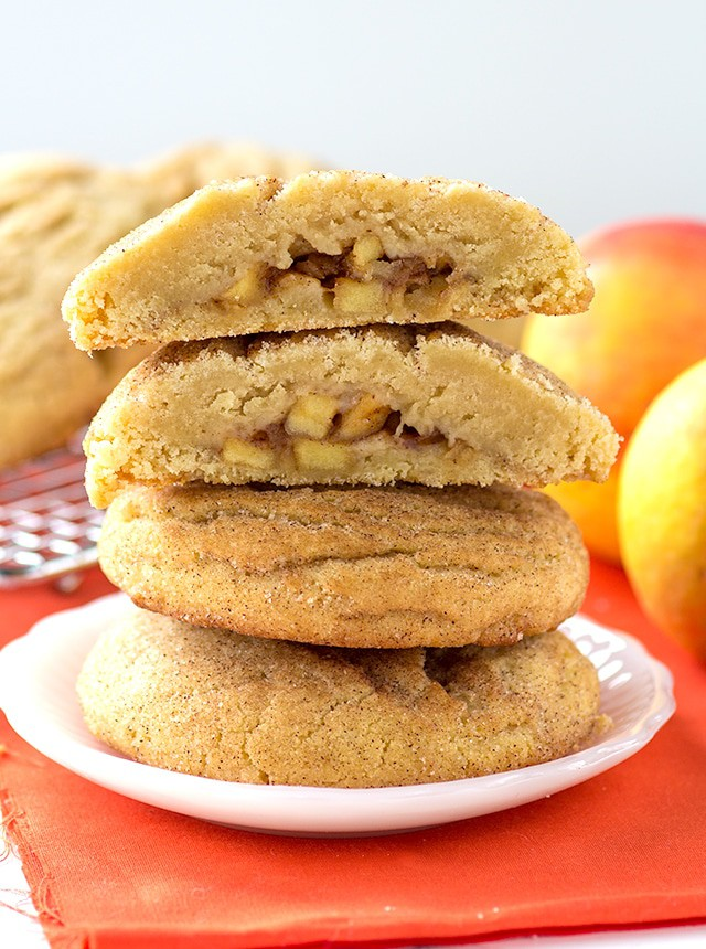 Apple Pie Stuffed Snickerdoodles - apple pie filling stuffed inside thick and fluffy snickerdoodles!