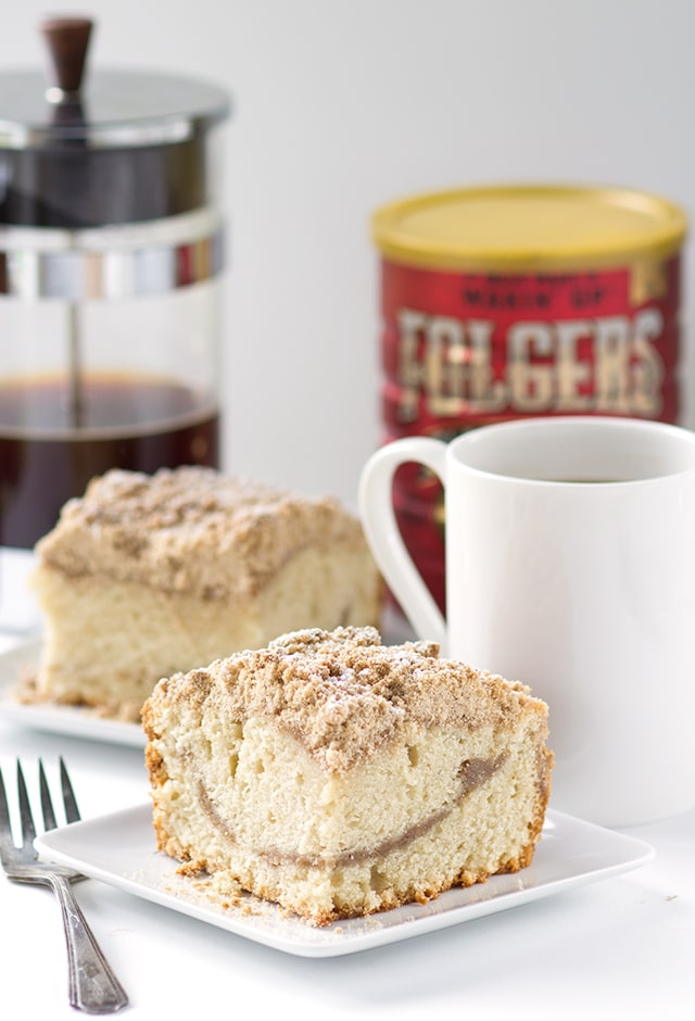 Old Fashioned Coffee Cake - Thick coffee cake with a layer of streusel inside the cake and on top of the cake. It also have a nice addition of strong coffee in the recipe for the coffee lovers! So get your morning coffee ready and have a slice of this coffee cake.