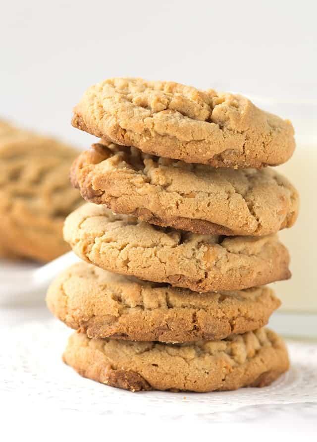 Peanut Butter Butterscotch Cookies - peanut butter cookies filled with butterscotch chips.