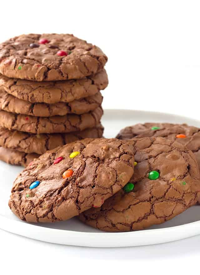 Brownie Cookies - rich chocolate cookies loaded with semi-sweet chocolate chips with a shiny crispy brownie top and m&m's