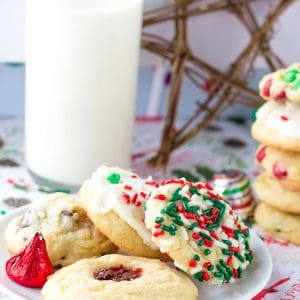 Five Christmas Cookies One Dough - One basic cookie dough and so many different add ins to jazz them up. This is the perfect way to fill up a holiday gift box for friends, coworkers, and family!
