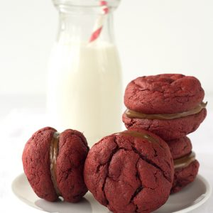 Nutella Filled Red Velvet Sandwich Cookies