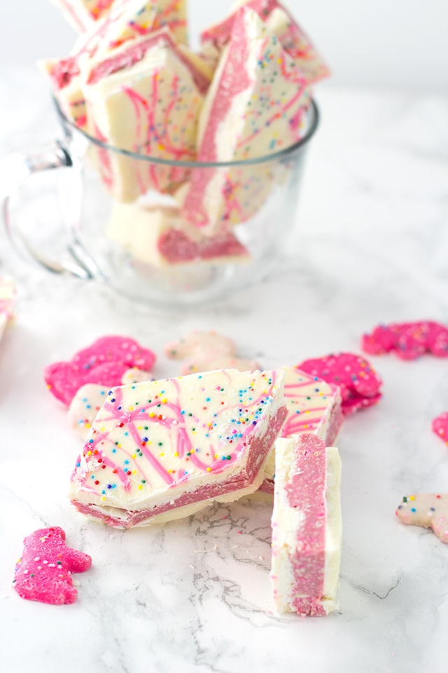 pieces of white chocolate bark made with frosted animal crackers