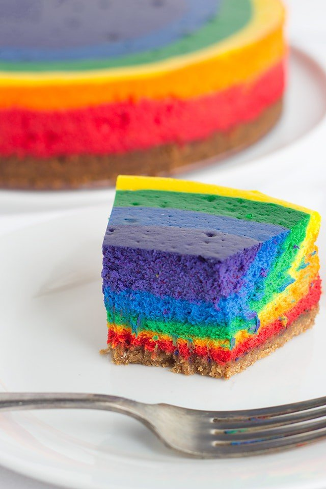 vanilla cheesecake colored with food coloring to resemble a rainbow