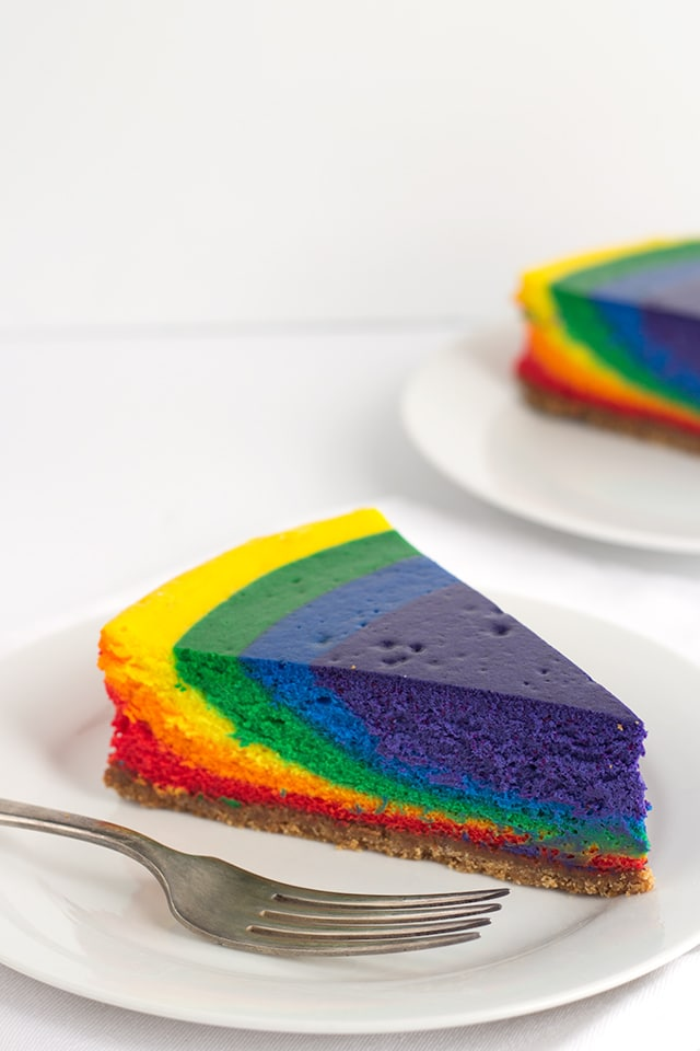 Rainbow Cheesecake -Vibrant rainbow colored vanilla bean cheesecake that's perfect for St. Patrick's Day!